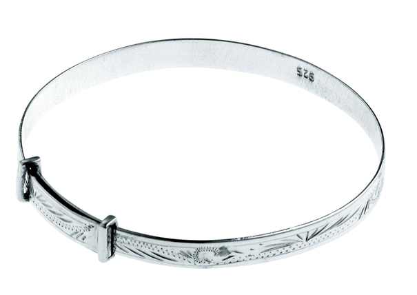 Carrs Sterling Silver Hand Engraved Expanding Christening Bangle