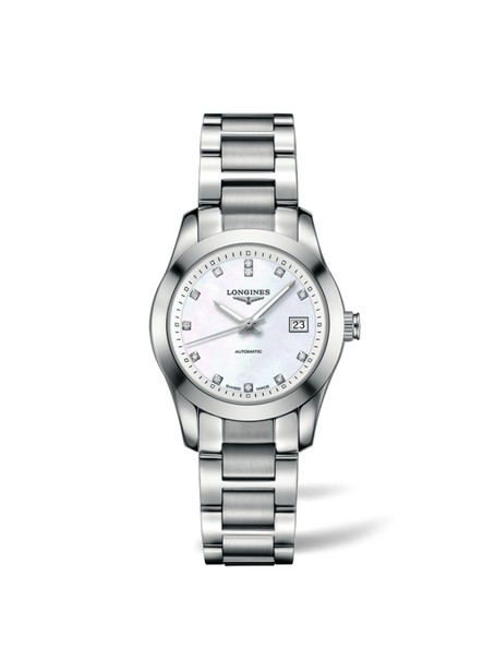 Longines Conquest Classic Mother of Pearl Diamond Set Dial Stainless Steel Womens Watch L22854876
