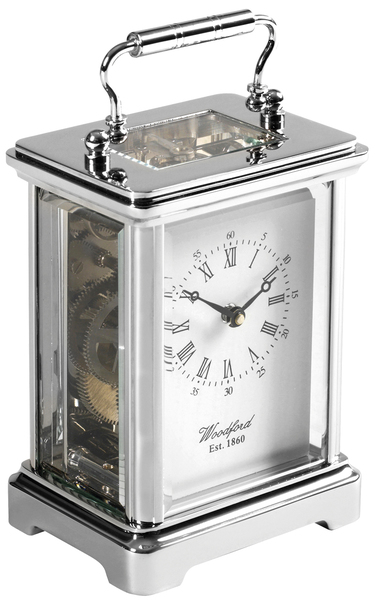 Woodford Chrome Plated Mechanical Obis Carriage Clock 1415