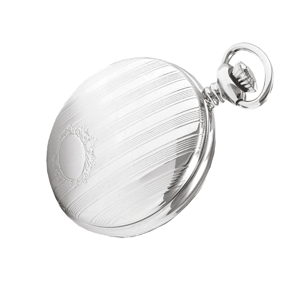 Woodford Arabic Dial Chrome Plated Quartz Full Hunter Pocket Watch 1215