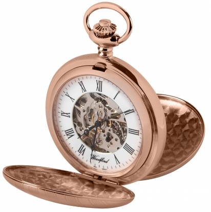 Woodford Rose Gold Plated Mechanical Double Hunter Pocket Watch 1090