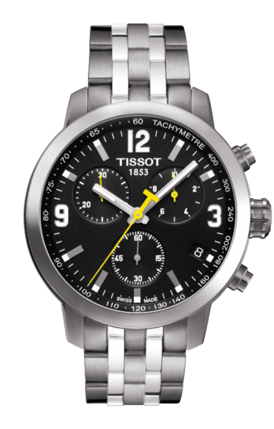 Tissote PRC 200 Black Dial Stainless Steel Mens Quartz Chronograph Watch T0554171105700