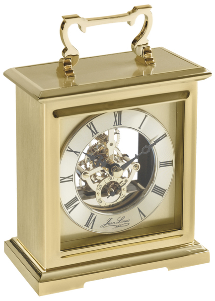 Jean Louis Gold Plated Skeleton Quartz Carriage Clock 1427