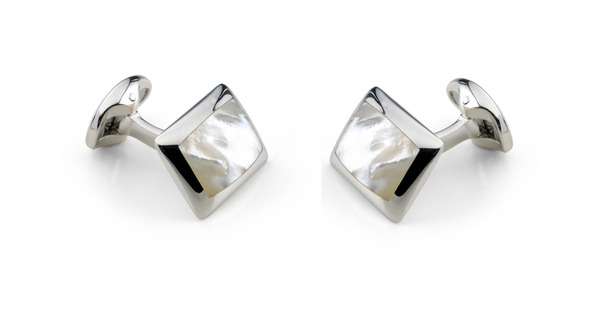 Deakin & Francis Sterling Silver & White Mother of Pearl Oblong Cufflinks C0146X0003