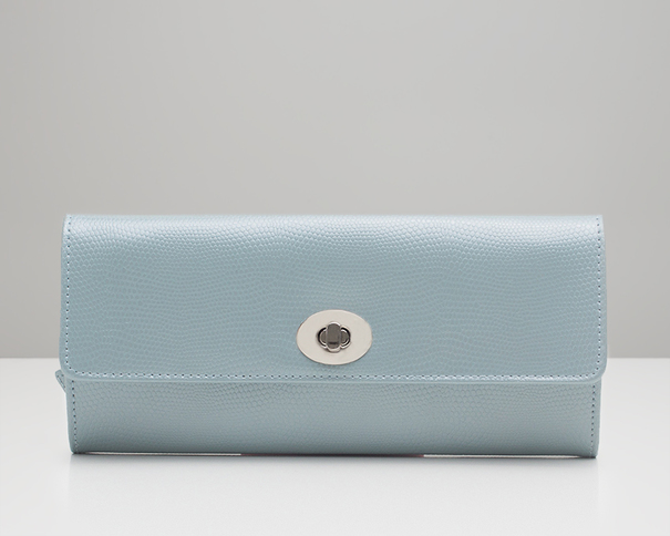 WOLF London Ice Blue Lizard Jewellery Roll 315324