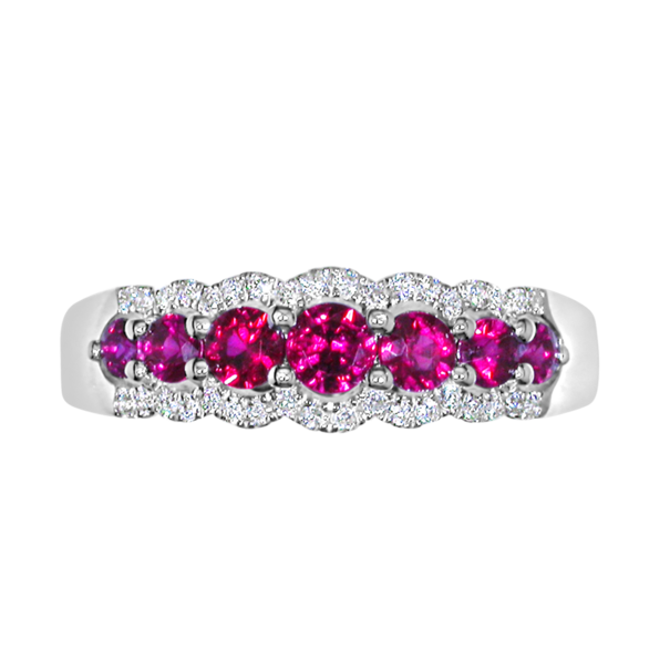 E W Adams 18ct White Gold Ruby & Diamond Set Half Eternity Ring