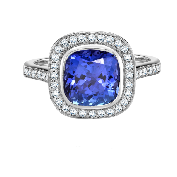 E W Adams 18ct White Gold Tanzanite & Diamond Set Cluster Ring
