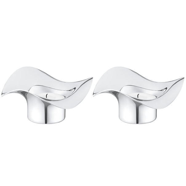 Georg Jensen Living Stainless Steel COBRA Tealight Holders (Pair) 3586582