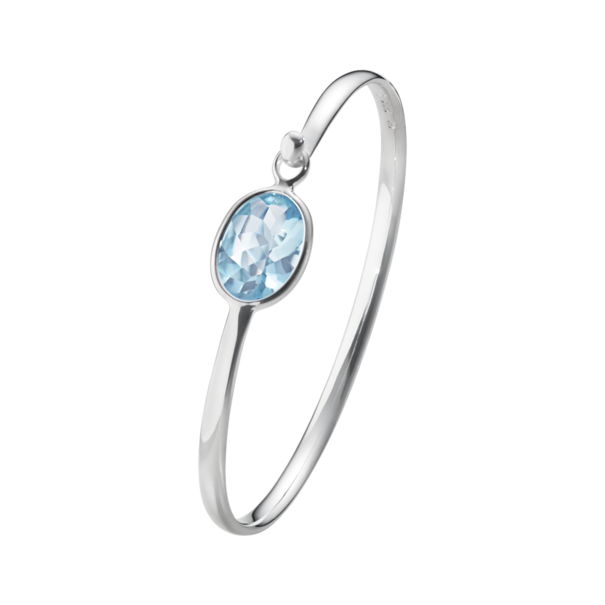 Georg Jensen SAVANNAH Sterling Silver & Blue Topaz Bangle 10007219