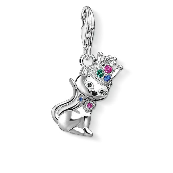 Thomas Sabo Charm Club Sterling Silver Multi-Stone Silver Cat with Crown Charm 1486-338-7