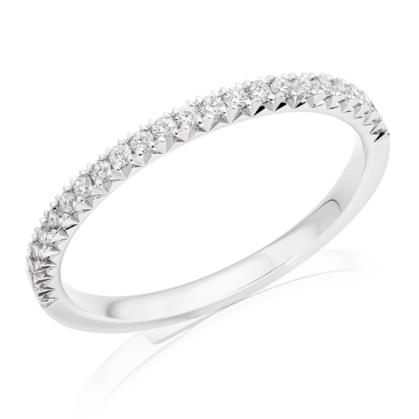 Charles Green & Son French Cut Collection Platinum 0.23ct Brilliant Cut Diamond Half Eternity Ring