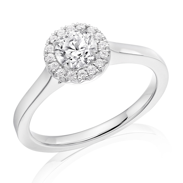 Charles Green & Son French Cut Collection Platinum Solitaire with Halo Cluster 0.42ct Brilliant Cut Diamond Ring