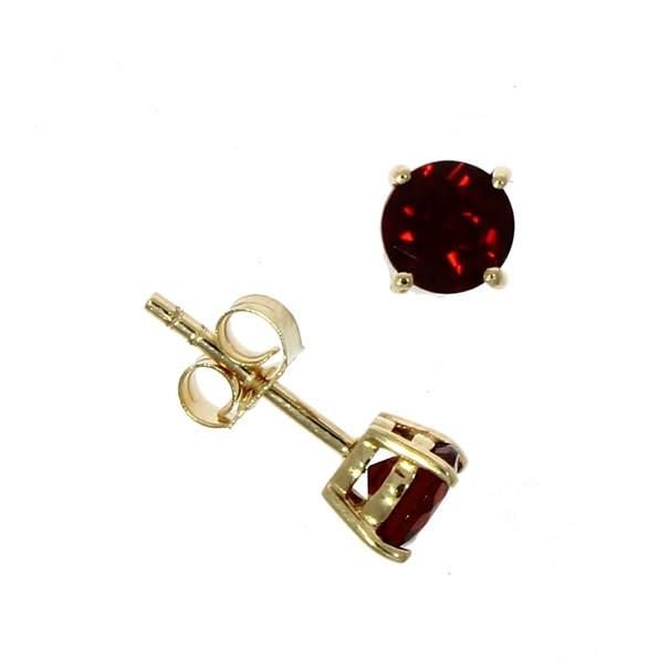 9ct Gold Round Garnet Claw Set Stud Earrings