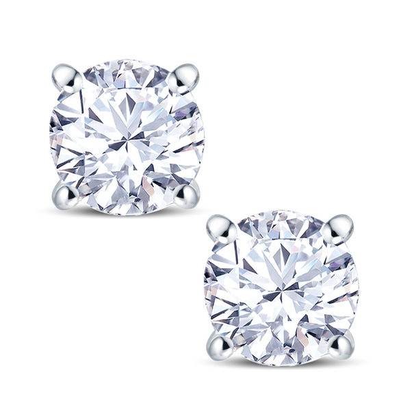 18ct White Gold 4 Claw Set 0.50ct Diamond Stud Earrings