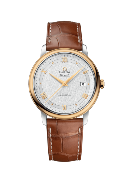 Omega De Ville Prestige Co-Axial Silver Dial Two Tone Stainless Steel & Gold Mens Watch 42423402002001
