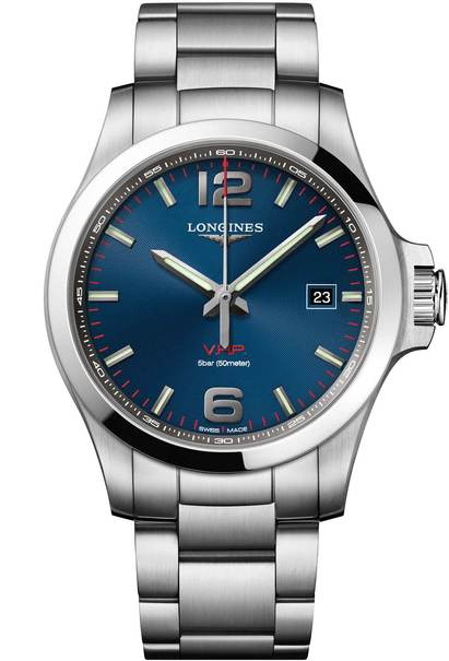 Longines Conquest V.H.P. Blue Dial Stainless Steel Mens Quartz Watch L37264966