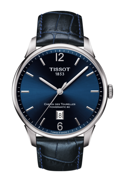 Tissot Chemin Des Tourelles Blue Dial Stainless Steel Powermatic 80 Mens Watch T0994071604700