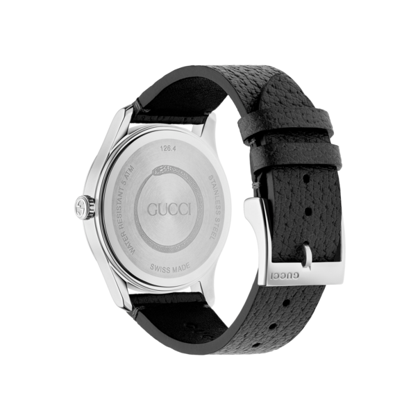 44eb05d6633 Gucci G-Timeless Bee Black Leather Dial Stainless Steel Unisex Quartz Watch  YA1264067