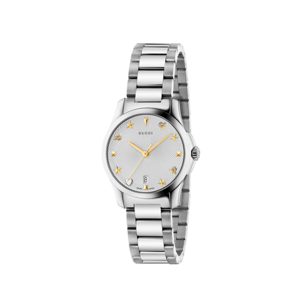 Gucci G-Timeless Silver Dial Stainless Steel Womens Quartz Watch YA126572A