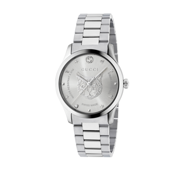 Gucci G-Timeless Feline Silver Dial Stainless Steel Unisex Quartz Watch YA1264095