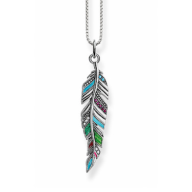 0fdfe812ee7 Thomas Sabo Glam   Soul Sterling Silver Multi-Stone Ethnic Feather Pendant  Necklace SCKE150239