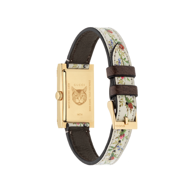 314f5b3e4bb Gucci G-Frame Mother of Pearl Flower Dial PVD Gold Plated Womens Quartz  Watch YA147407