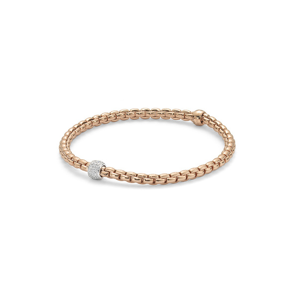 FOPE Flex'it Eka Tiny 18ct Rose Gold & Diamond Bracelet 733BPAVEM