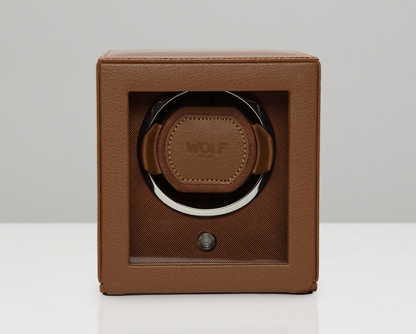 WOLF Cognac Cub Single Winder with Cover Watch Winding Box 461127