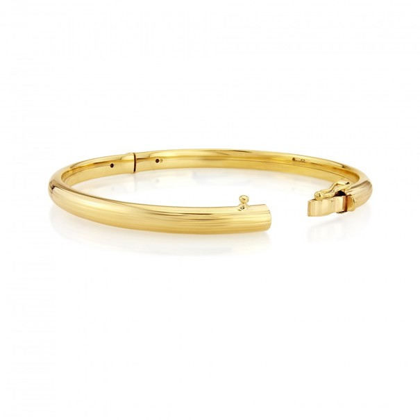 9ct Gold Stripe Texture Oval Hinged Bangle