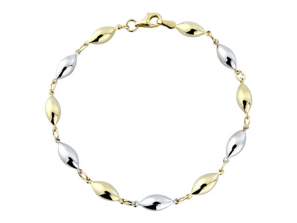 9ct Yellow & White Gold Polished Ovoid Bead Bracelet