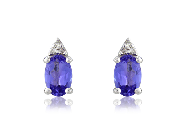 9ct White Gold Tanzanite & Diamond Set Stud Earrings