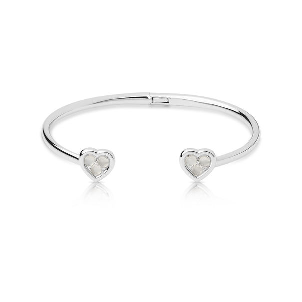 Links of London Sterling Silver, Moonstone & Diamond Set Wholehearted Open Heart Cuff Bangle 5010.4238