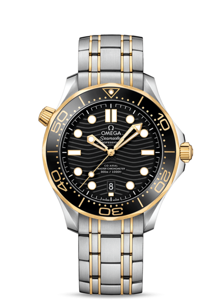 Omega Seamaster Diver 300M Omega Co-Axial Master Chronometer Black Dial Two Tone Mens Watch 21020422001002