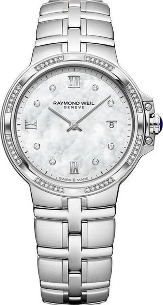 Raymond Weil Parsifal Mother of Pearl Dial Diamond Set Stainless Steel Womens Quartz Watch 5180-STS-00995