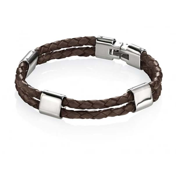 Fred Bennett The Adventurer Polished Stainless Steel & Brown Leather Bracelet B3671