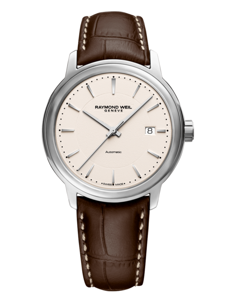Raymond Weil Maestro Light Beige Dial Stainless Steel Mens Calibre RW4200 Watch 2237-STC-65011