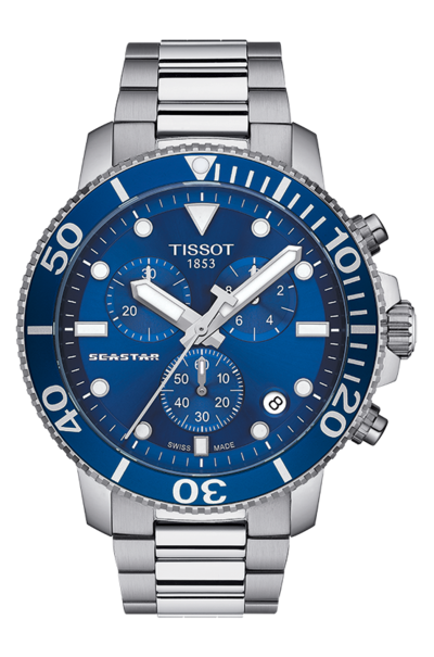 Tissot Seastar 1000 Blue Dial Stainless Steel Mens Quartz Chronograph Watch T1204171104100