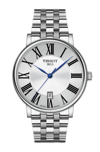 Tissot Carson Premium Silver Dial Stainless Steel Mens Quartz Watch T1224101103300
