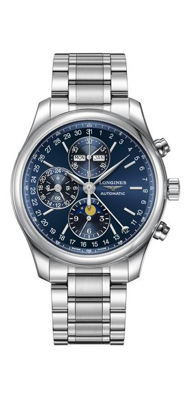 Longines Master Collection Blue Dial Moonphase Stainless Steel Mens Chronograph Watch L27734926