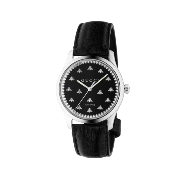 Gucci G-Timeless Black Onyx Dial Stainless Steel Mens Automatic Watch YA126286