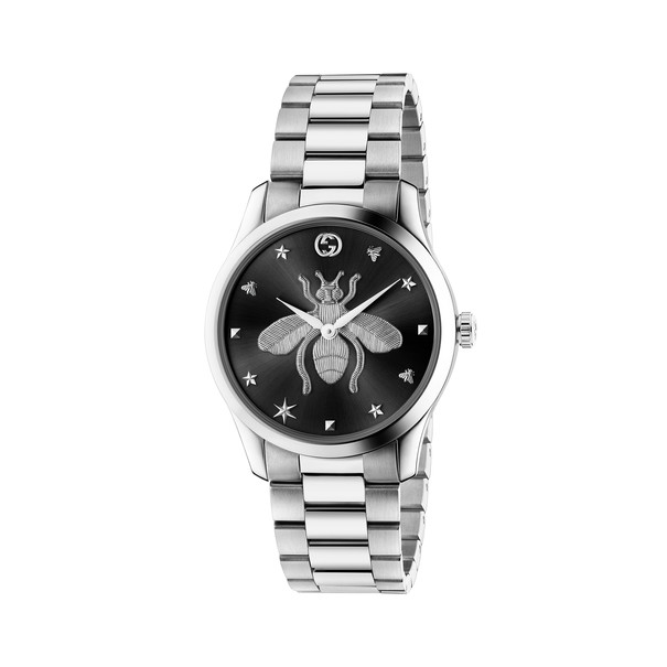 Gucci G-Timeless Iconic Bee Black Dial Stainless Steel Unisex Quartz Watch YA1264136
