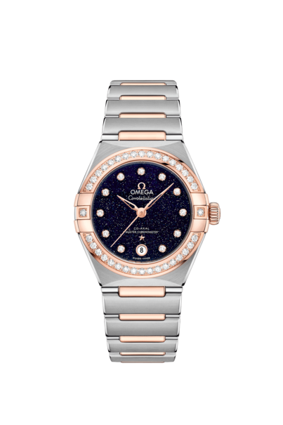 Omega Constellation Manhattan Blue Dial Diamond Set Omega Co-Axial Master Chronometer Two Tone Womens Watch 13125292053002