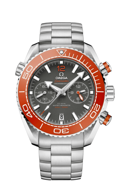 Omega Seamaster Planet Ocean 600M Omega Co-Axial Master Chronometer Mens Grey Dial Orange Bezel Stainless Steel Chronograph Wristwatch 21530465199001