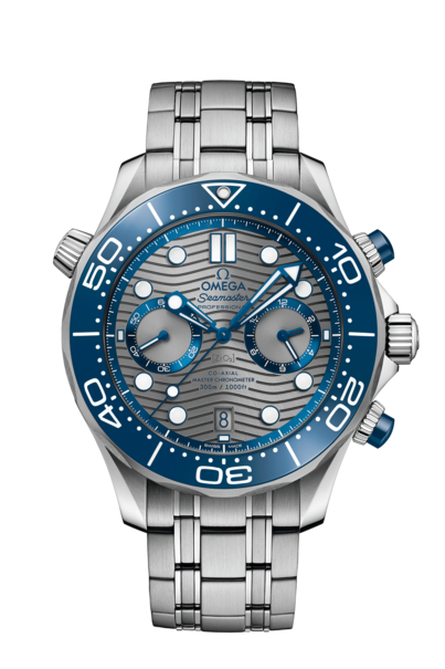 Omega Seamaster Diver 300M Omega Co-Axial Master Chronometer Grey Dial Stainless Steel Mens Chronograph Watch 21030445106001