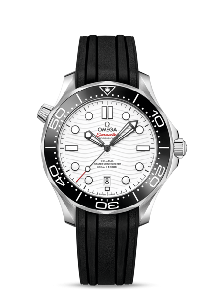 Omega Seamaster Diver 300M Omega Co-Axial Master Chronometer White Dial Stainless Steel Mens Watch 21032422004001