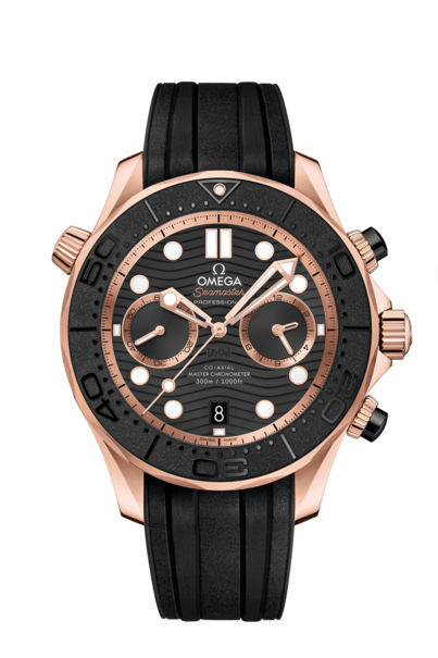 Omega Seamaster Diver 300M Co-Axial Master Chronometer Black Dial 18ct Rose Gold Mens Chronograph Watch 21062445101001