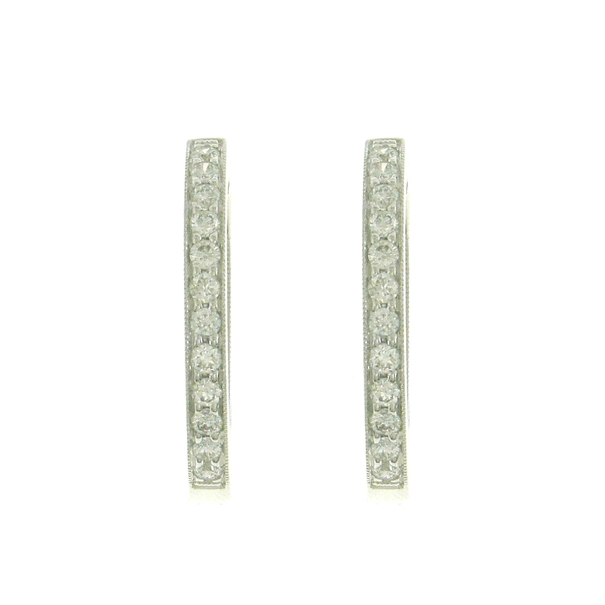 18ct White Gold Claw Set Diamond Hoop Earrings