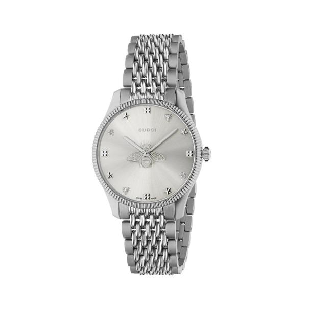 Gucci G-Timeless Silver Dial Slim Bee Stainless Steel Unisex Quartz Watch YA1264153