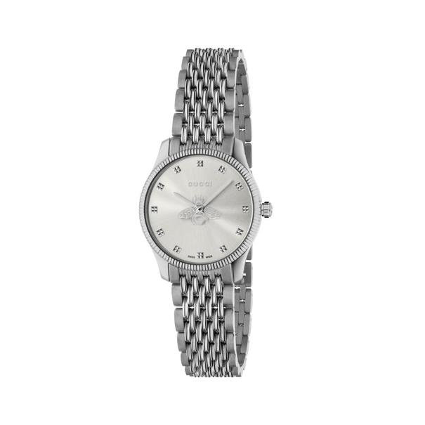 Gucci G-Timeless Silver Dial Slim Bee Stainless Steel Womens Quartz Watch YA1265019