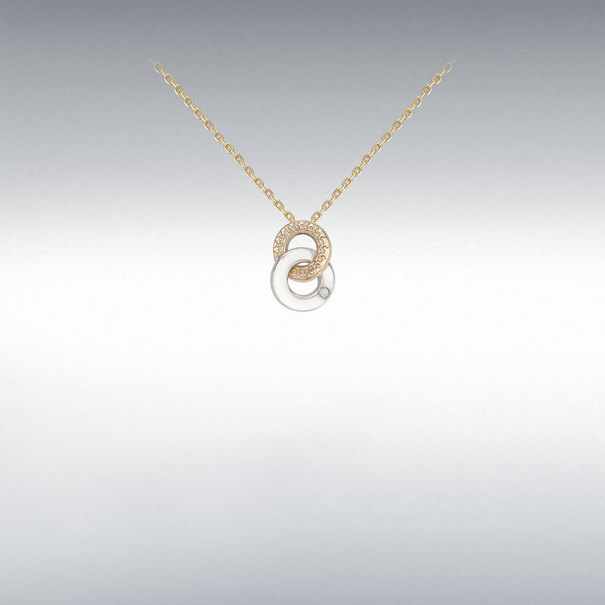 9ct 3 Colour Rose, White, Yellow Gold Cubic Zirconia Set Linked Rings Pendant Necklace